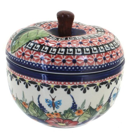 Blue Rose Polish Pottery Floral Butterfly Apple Baker - image 1 of 1