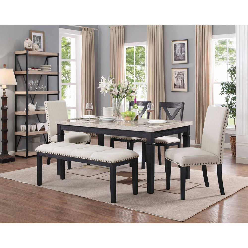 6pc Bradley Dining Set Table & 2 Upholstered Side Chairs, 2 X Back Side Chairs & Bench Dark Walnut - Picket House Furnishings