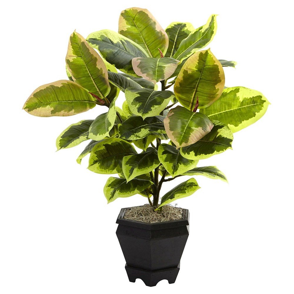22 Variegated Rubber Leaf Plant with Wood Planter - Nearly Natural, Green