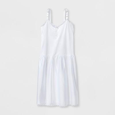 I.C. Collections Girls' Adjustable Nylon Slip - White
