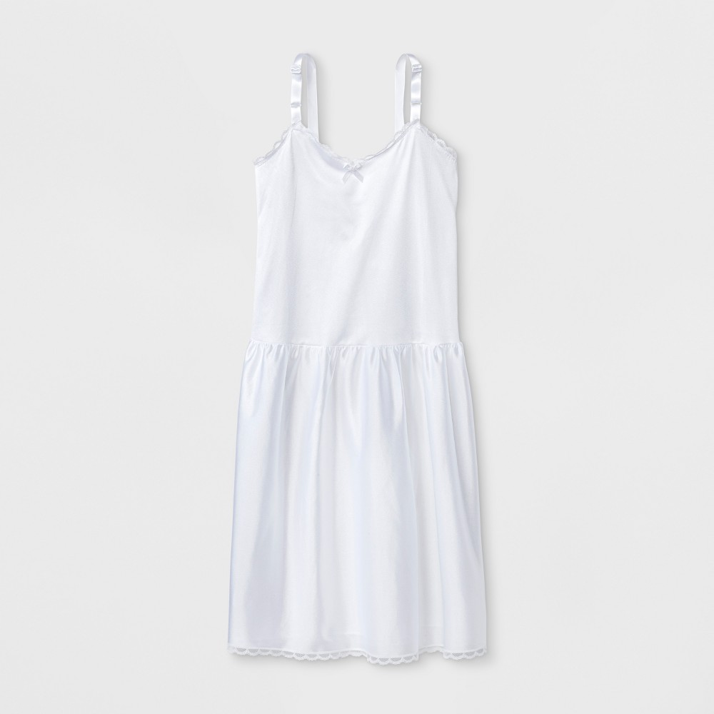 I.C. Collections Girls' Adjustable Nylon Slip - White 5