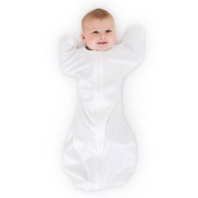 SwaddleDesigns Transitional Swaddle Sack Wearable Blanket - Sterling Polka Dots on White - S - 0-3 Months