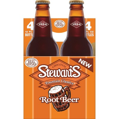Stewart's Root Beer Made with Sugar - 4pk/12 fl oz Glass Bottles