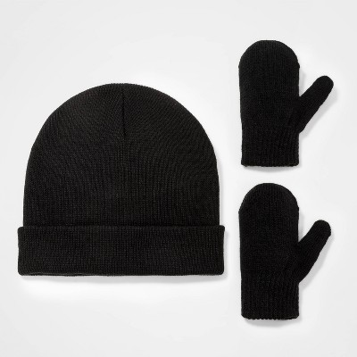 Toddler Boys' 2pk Knit Beanie with Magic Mittens - Cat & Jack™ Black 12-24M