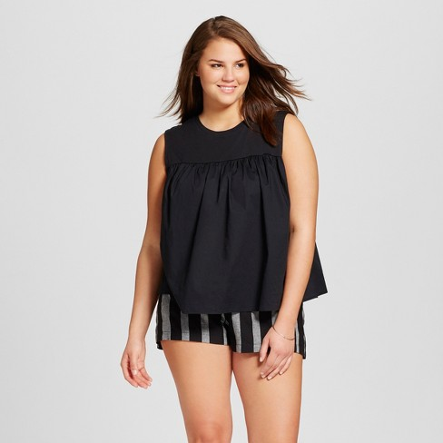 Women's Plus Size Knit To Woven Tank Top  - Who What Wear™ - image 1 of 3