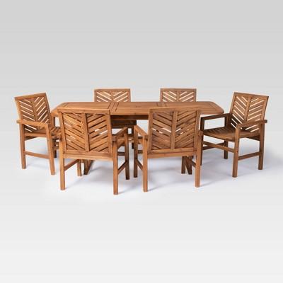 7pc Extendable Outdoor Patio Dining Set Brown - Saracina Home