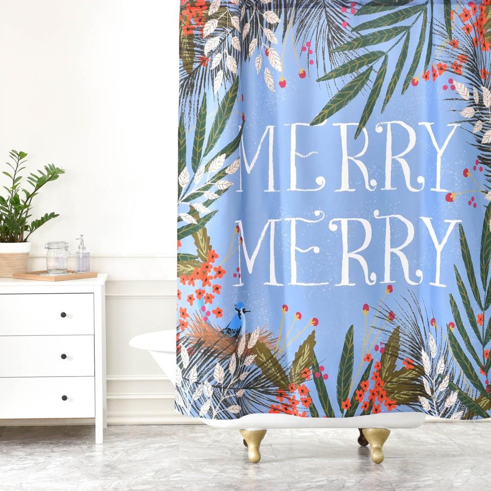 Christmas Merry Wreath Shower Curtain Purple Deny Designs