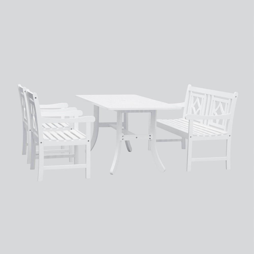Image of Bradley 4pc Wood Curvy Outdoor Patio Dining Set - White - Vifah
