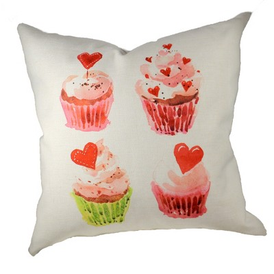 """Home Decor 20.0"""" Valentine Cupcake Quartet Cottage Pillow  -  Decorative Pillow"""