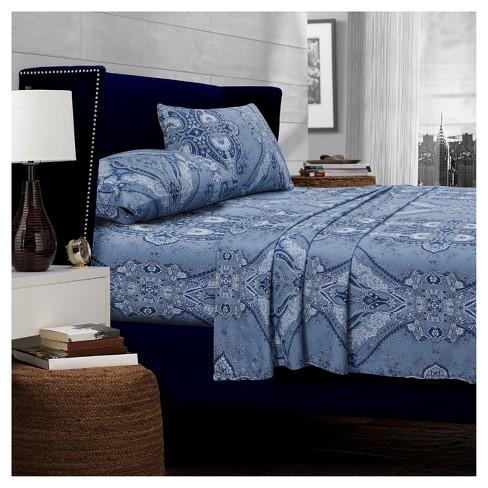 Atlantis Deep Pocket Sateen Sheet Set (Twin) Blue 300 Thread Count - Tribeca Living - image 1 of 1