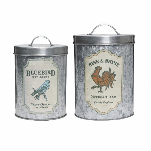 Amici Home Galvanized Farm Silver/Gray 52 & 84 oz Metal Storage Canisters, Set of 2 - image 1 of 4