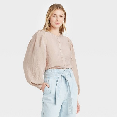 Women's Long Sleeve Button-Down Femme Top - A New Day™