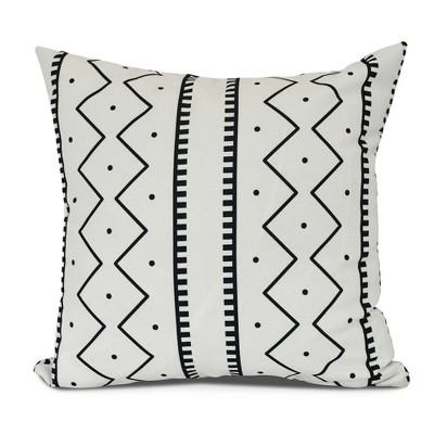 Cream/Black Mud cloth Print Pillow Throw Pillow (16 x16 )- E by Design