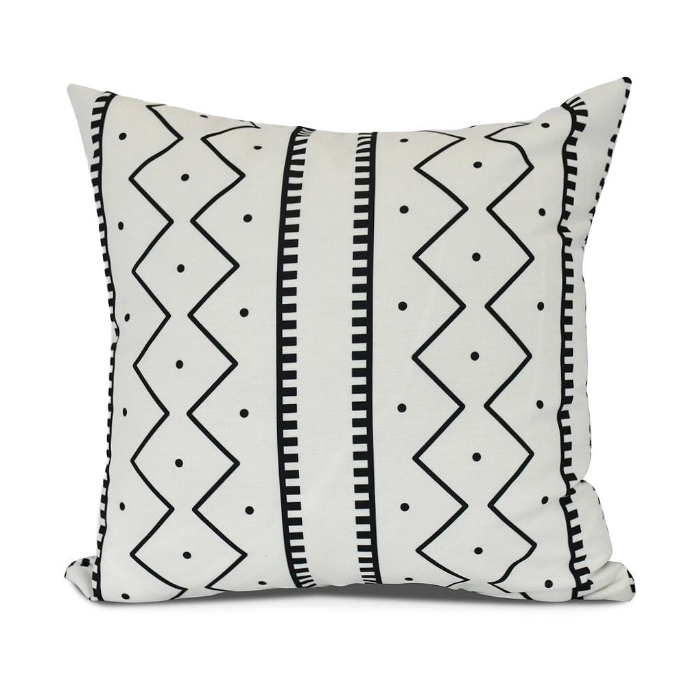 "Image of ""Cream/Black Mud cloth Print Pillow Throw Pillow (16""""x16"""") - E by Design, Light Milk White"""