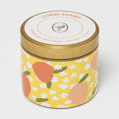 4oz Mini Patterned Tin Citrus Sunset Candle - Opalhouse™
