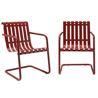 Gracie Stainless Steel Chair Set Of 2   Red   Crosley
