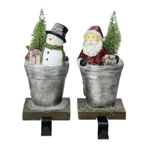 Melrose Set Of 2 Santa Claus And Snowman Christmas Stocking Holders 8