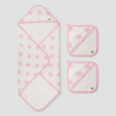 Layette by Monica + Andy Baby 3pc Unicorn Dreams Bath Towel Set - Pink