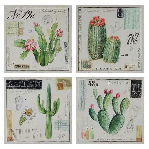Cactus Wall Art on Canvas White/Green 4pk - 3R Studios : Target