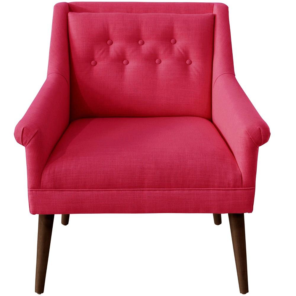 Hadley Button Tufted Chair Fuchsia Linen - Cloth & Co.