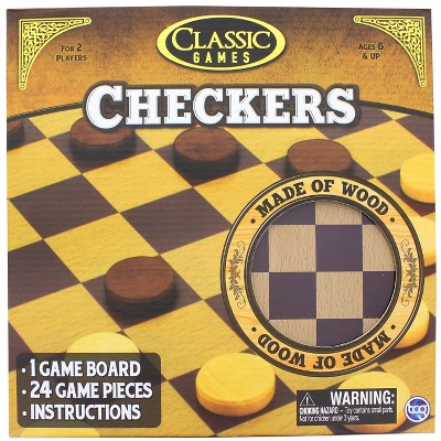 The Canadian Group Classic Games Wood Checkers Set | Board & 25 Game Pieces