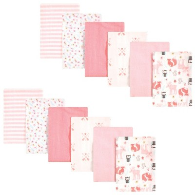 Hudson Baby Infant Girl Cotton Flannel Burp Cloths Bundle, Girl Forest, One Size