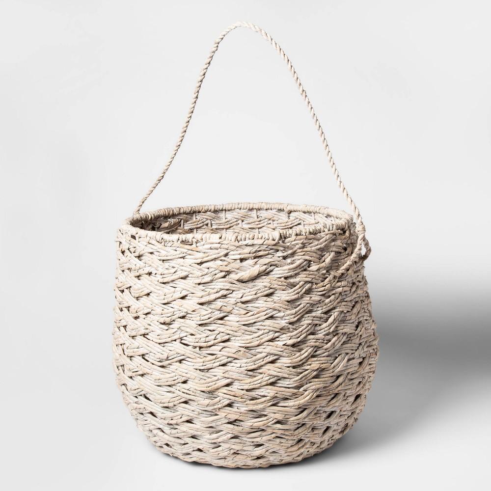 """Image of """"15""""""""x18"""""""" Large Round Basket White Washed - Threshold"""""""