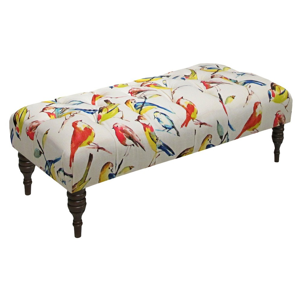 Birdwatcher Tufted Bench Multi Colored - Skyline Furniture, Summer