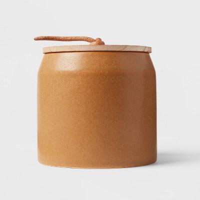 12oz Lidded Wooden Wick Gingersnap Spice Honey Orange Candle - Threshold™