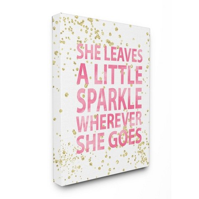 "She Leaves A Little Sparke Stretched Canvas Wall Art (16""x20""x1.5) - Stupell Industries"