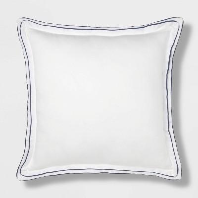 Euro Border Frame Decorative Throw Pillow White/Navy - Threshold Signature™