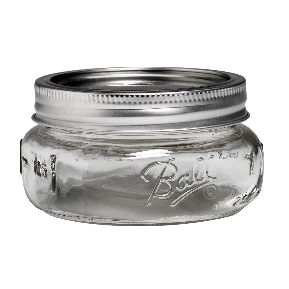Image of Ball 4ct 8oz Collection Elite Glass Mason Jar with Lid and Band - Wide Mouth