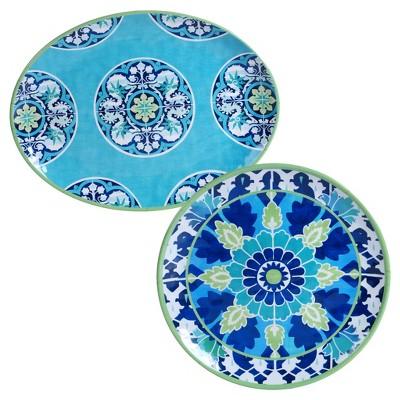 Certified International Granada by Jennifer Brinley Round Melamine Set of 2 Serving Platters Blue Floral