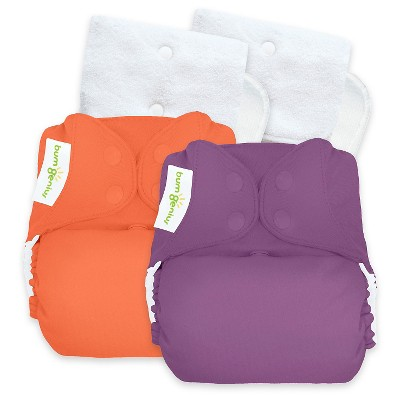 BumGenius Reusable Diaper Set Viking Purple Orange Coral Opaque