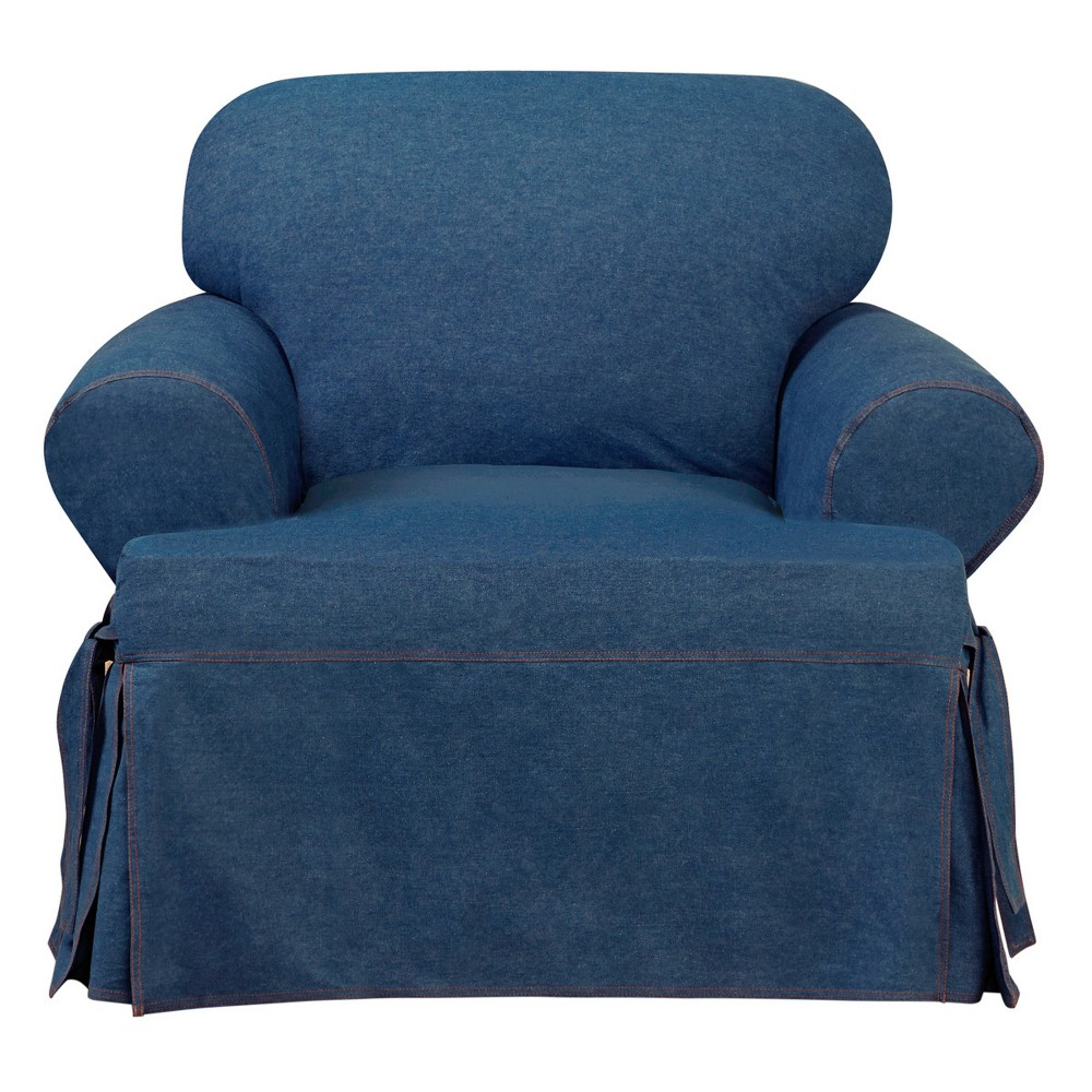 Image of Authentic Denim T-Chair Slipcover Indigo - Sure Fit