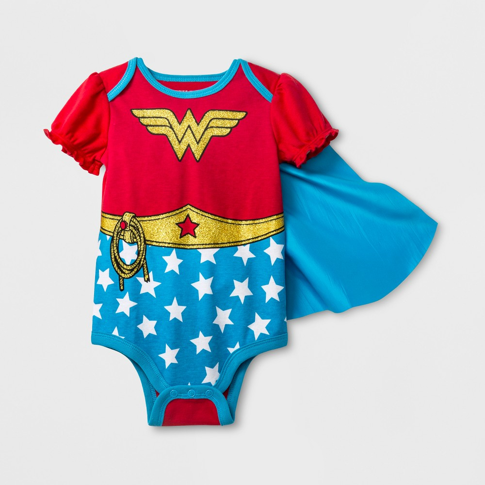 Baby Girls' DC Comics Wonder Woman Short Sleeve Bodysuit with Cape - Red 6-12M
