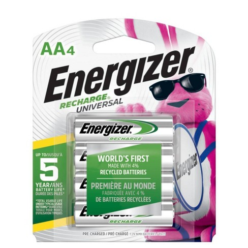 Energizer 4pk Recharge Universal Rechargeable AA Batteries - image 1 of 2