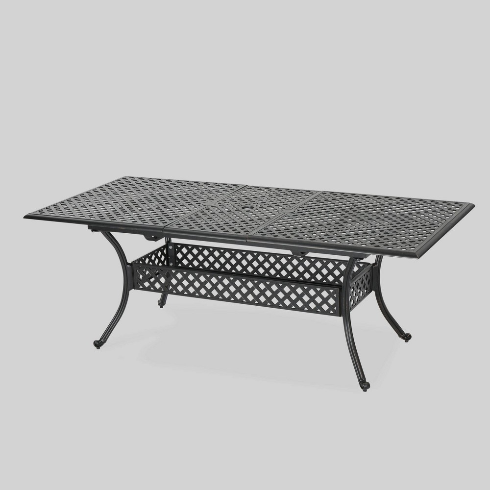 Abigail Rectangle Cast Aluminum Expandable Outdoor Patio Dining Table - Copper (Brown) - Christopher Knight Home