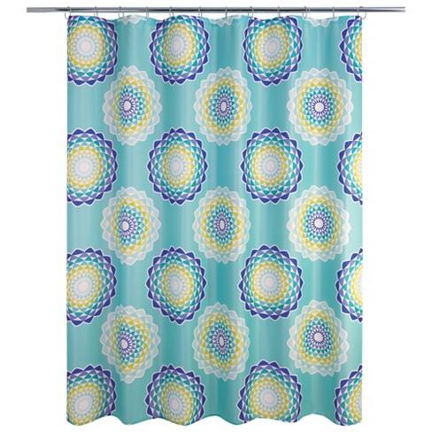 Atomic Circle Shower Curtain Mint Green