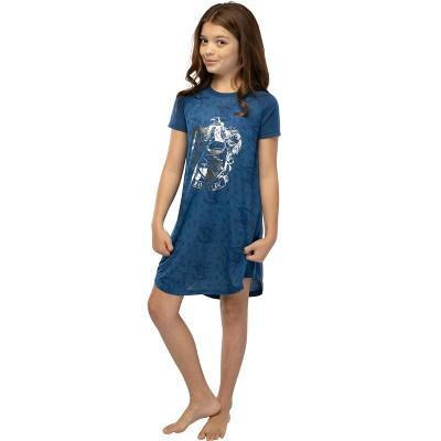 Harry Potter Girls' Foil Print Hogwarts Houses S/S Raglan Nightgown