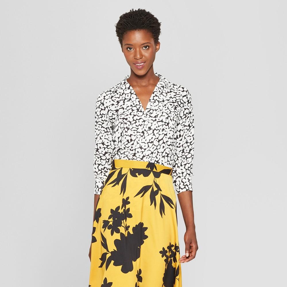 Women's Floral Print Long Sleeve V-Neck Button-Up Shirt - Who What Wear Black/White L, Black/White Floral
