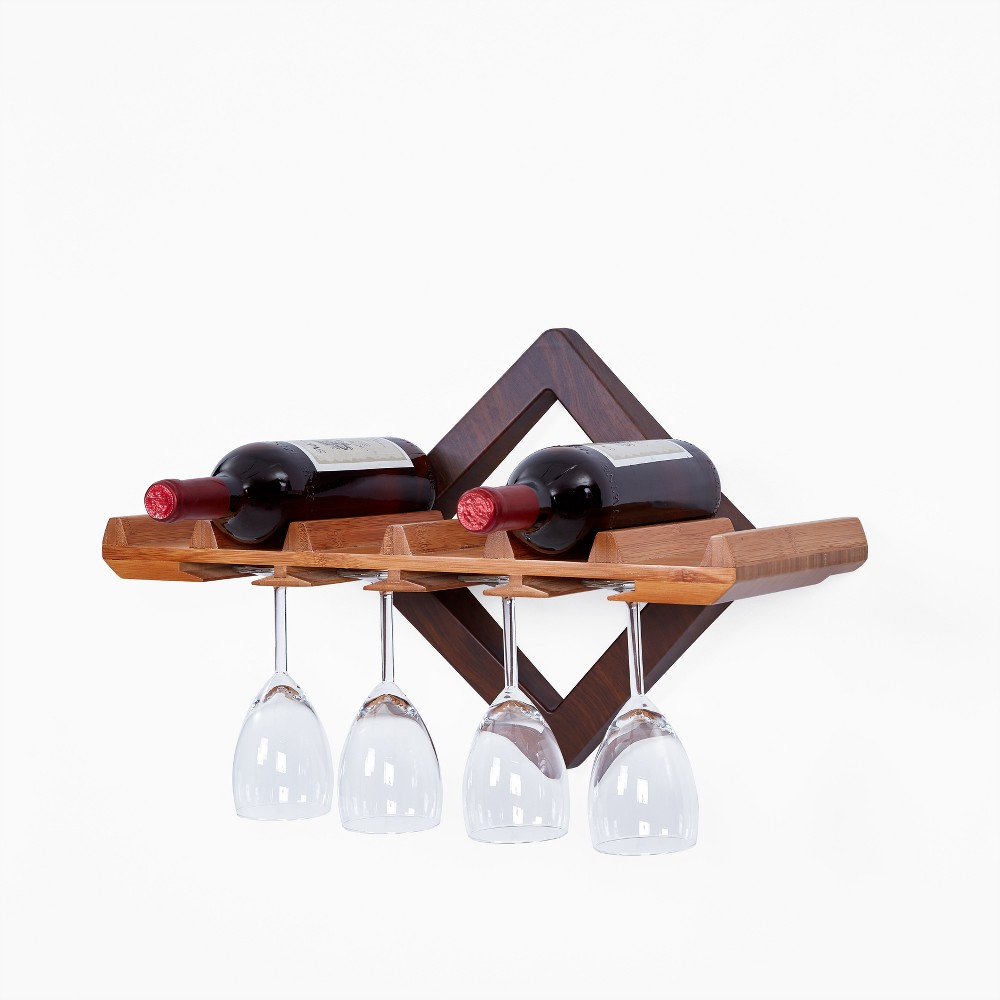 Wall Shelf with Wine Bottle and Hanging Stemware Organizer, Brown