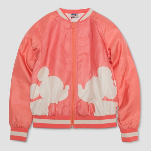 Junk Food Girls' Mickey Mouse Graphic Bomber Jacket - Pink - image 1 of 2