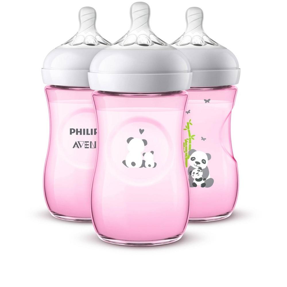 Philips Avent Natural Baby Bottle - Pink Panda - 9oz - 3pk