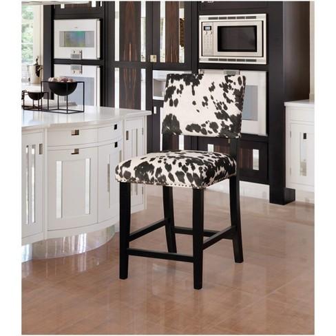 Brilliant Corey Black Cow Print Counter Stool Black White Linon Target Dailytribune Chair Design For Home Dailytribuneorg