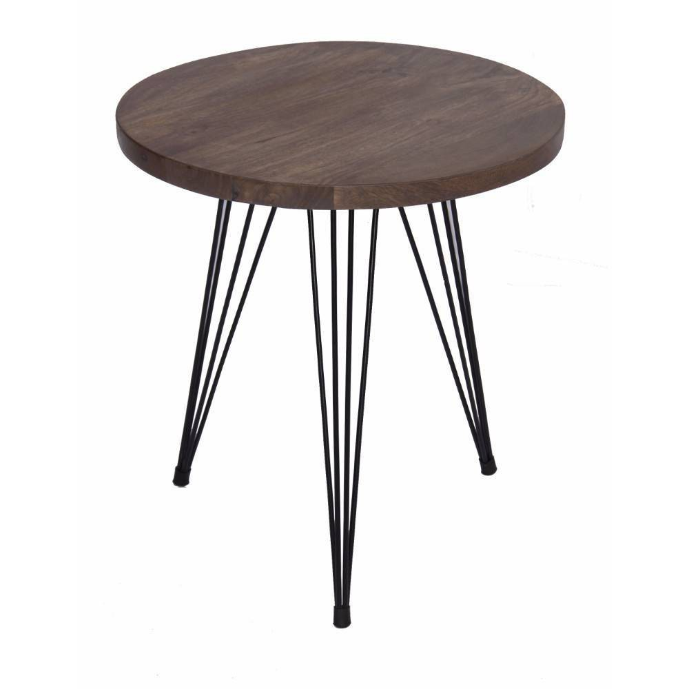 Industrial Style Round Top End Table Camel - The Urban Port