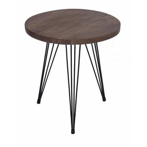 Industrial Style Round Top End Table Camel - The Urban Port - image 1 of 7