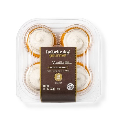 Vanilla Filled Cupcakes - 11.7oz/4ct - Favorite Day™