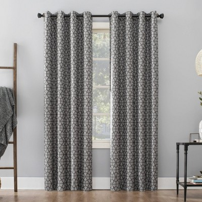 """84""""x52"""" Burke Twill Mosaic Extreme Total Blackout Grommet Top Curtain Panel Charcoal/Gray"""