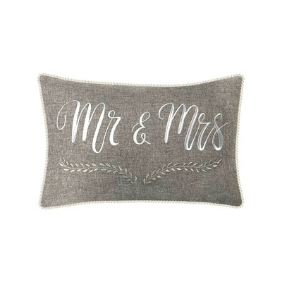 'Mr & Mrs' with Pearl Trim Lumbar Throw Pillow Gray - Edie@Home